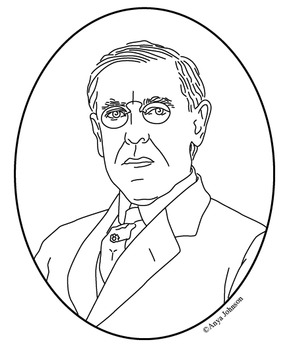 Woodrow Wilson (28th President) Clip Art, Coloring Page or