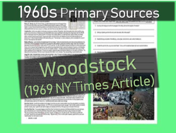 Woodstock Primary Source (1969 NY Times) with images, back