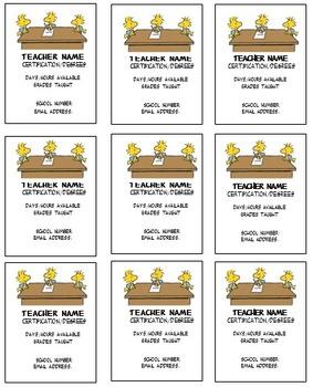 Woodstock Teacher business cards Editable