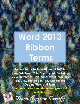Word 2013 Ribbon Terms Review