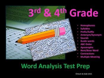 SOL Word Analysis/Language Arts Test Prep - Grades 3 & 4