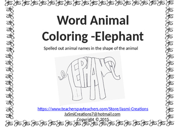 Word Animal - Elephant