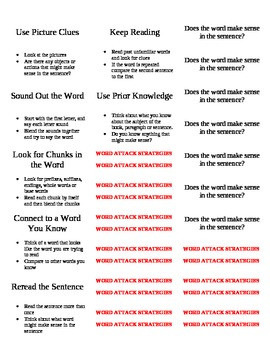 Word Attack Strategy Labels