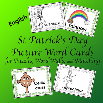 Word Cards for St. Patrick's Day Word Wall, Concentration