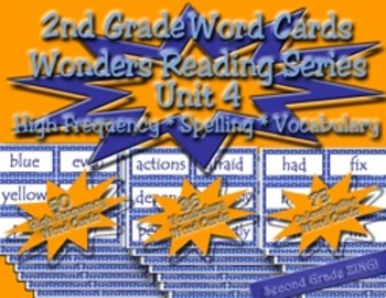 Word Cards for Unit 4 Wonders Reading Series 2nd Grade