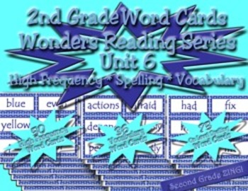 Word Cards for Unit 6 Wonders Reading Series 2nd Grade