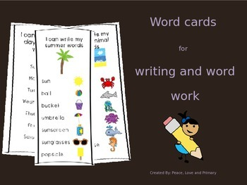 Word Cards for Writing and Word Work