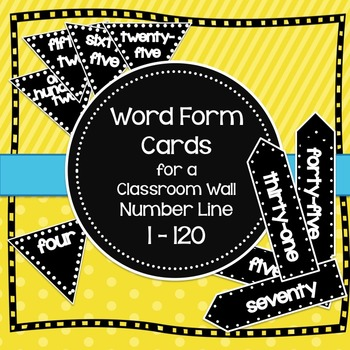 Word Form Cards for a Classroom Wall Number Line 1-120 in