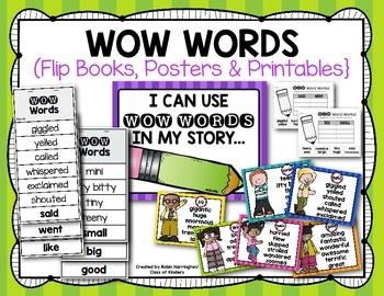 Word Choice {WOW Words} Flipbooks & Posters for First Grad