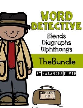 Word Detective Blends, Diagraphs, Diphthongs Bundle
