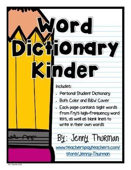 Word Dictionary Kindergarten