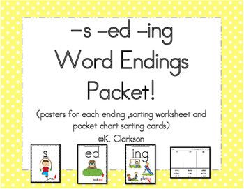 Word Endings Activity Pack {-s -ed -ing}