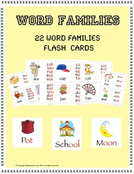 Word Families - 22 Flashcards ( Set # 1 )