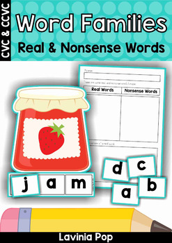 Word Families Real and Nonsense Words Sorting (CVC and CCV