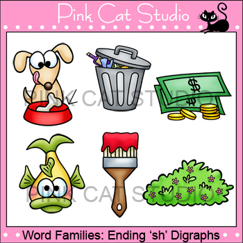 Word Families: Ending -sh Digraphs Clip Art - Personal or