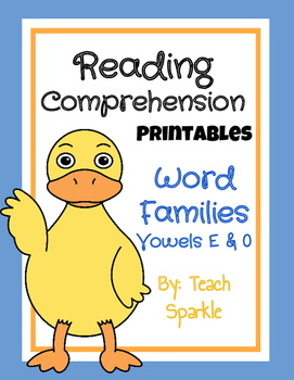 Word Families Reading Comprehension Printables: Vowel E &