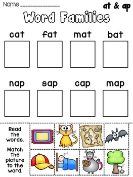 Printables Word Family Worksheets Kindergarten at word family worksheets davezan short vowel families practice by miss giraffe