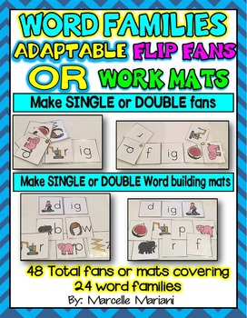 Word Families SINGLE & DOUBLE ADAPTABLE FLIP FANS or Mats