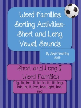 Word Families Sorting Activities:Short and Long I Word Fam