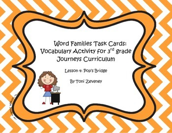 Word Families Task Cards for Journeys 3rd Grade