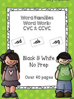Word Families Word Work (CVC & CVCC): ad, ab ag