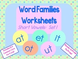 Word Families Worksheets: Short Vowels set 1 for K or 1st