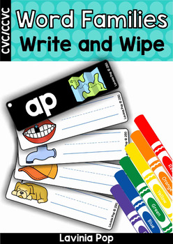 Word Families Write and Wipe cards (CVC and CCVC words)