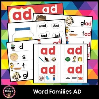 Word Families Activities AD