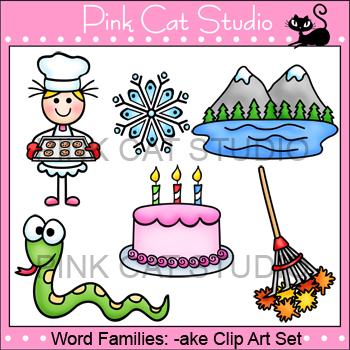 Clip Art Rhyming Words: -ake Rime Word Family Clip Art Set