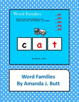 Word Families an, at, ap, ag, ad - Activity for students o