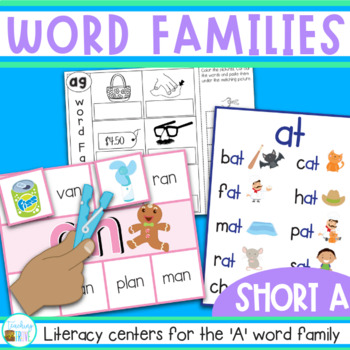 Word Families Word Work for Short A - charts, playdough ma