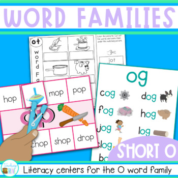 Word Families Word Work for Short O - posters, playdough m
