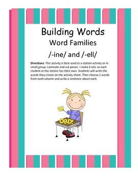 Word Families /-ine/ and /-ell/...Building Words Center an