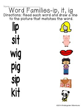 Word Families-ip, it, ig