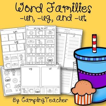 Word Families un, ug, and ut Cupcake Theme