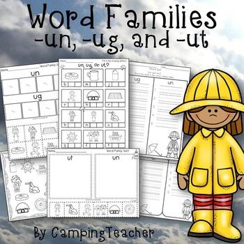 Word Families un, ug, and ut Umbrella Weather Theme