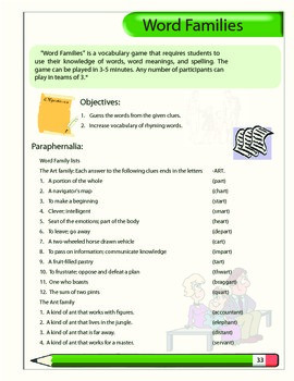 Word Families vocabulary game