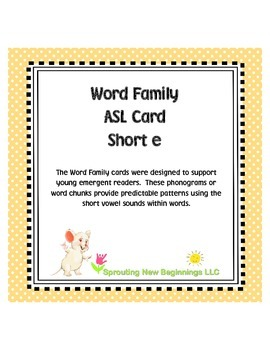 Word Family ASL Cards Short /e/ - American Sign Language