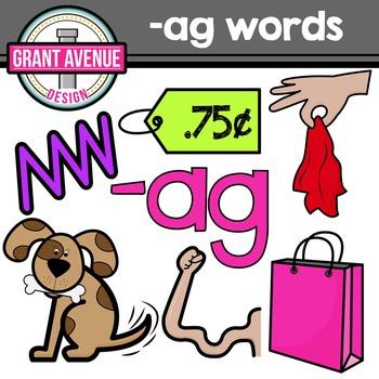 """Word Family Clipart - """"ag"""" Word Family Clipart - CVC Middl"""
