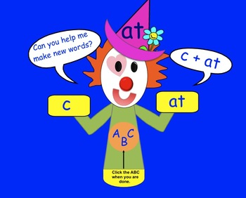 Word Family Clown Freebie: Interactive SMARTboard activity