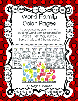 Word Family Color Pages (Words Their Way) U2 Sorts 6-12 Le