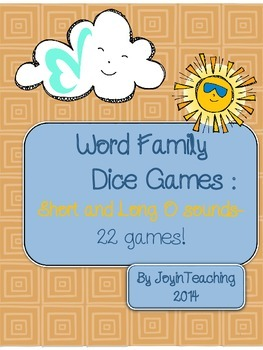 Word Family Dice Games: Short and Long O Sound and Spellin