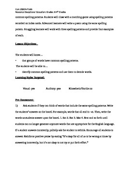 Word Family/ ELA LESSON PLAN for exceptional education