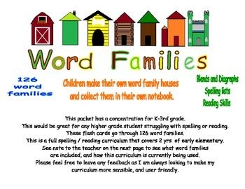 126 Word Family Flash Cards and Worksheets
