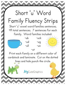 Word Family Fluency Strips-Short 'u' Words