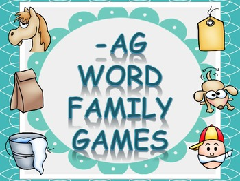 Word Family Games (-ag), includes dice, game board, race b