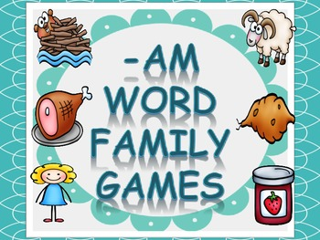 Word Family Games (-am), includes dice, game board, race b