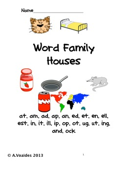 Word Family Houses with words