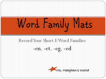Word Family Mats- Short E
