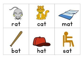 Word Family Memory Game (at, an, ap)